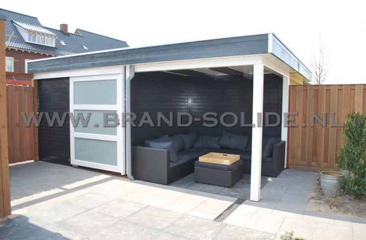 Modern tuinhuis plat dak 300 x 250 overkapping 300 brand solide