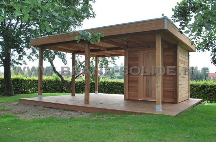 Modern Tuinhuis Plat Dak In Onderhoudsarm Ceder 500 X 400 Brand Solide
