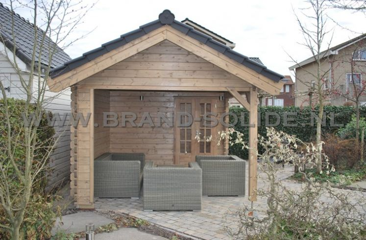 Tuinhuis tuinhuis met dakpannen : blokhut op maat 350 x 350 luifel 350 ...