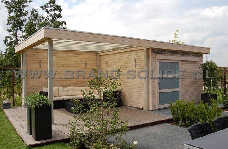 Modern tuinhuis plat dak met schuifdeur overkapping en bovenlichten ...