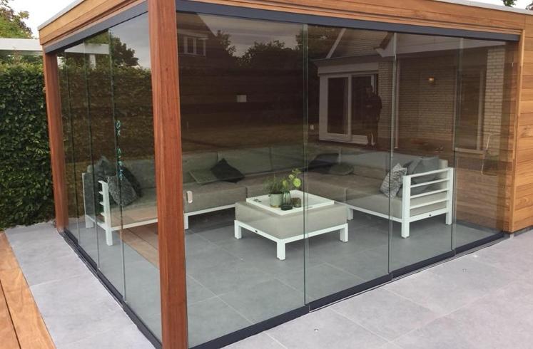 Schuifdeuren Glas Veranda.Glazen Schuifwand Voor Overkappingen 250 Cm Hoog 248 252 5 Cm Antraciet 7024