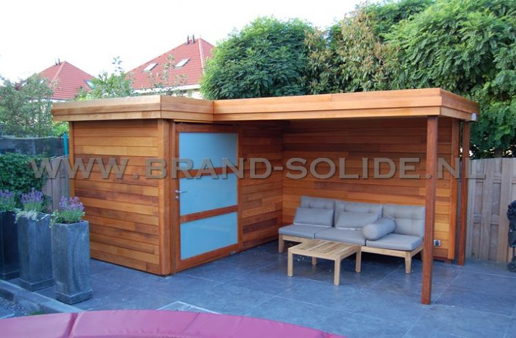 Nieuw Modern tuinhuis plat dak CEDER 300 x 200 met luifel 300 x 200 JS-36